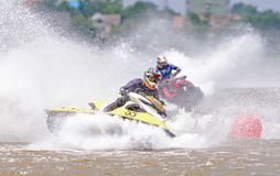 Jetski Northeastern Thailand Championship 2015. KHON KAEN THAILAND - SEPTEMBER 13: Unidentified jet ski racer in race: Jetski Northeastern Thailand Championship Stock Photography