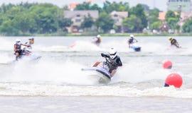 Jetski Northeastern Thailand Championship 2015. KHON KAEN THAILAND - SEPTEMBER 13: Unidentified jet ski racer in race: Jetski Northeastern Thailand Championship Royalty Free Stock Photo