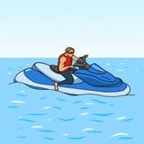 Jetski op de stijl vectorillustratie van het waterpop-art Stock Fotografie