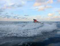 Jetski on the sea. Speed and adrenaline. Freedom without borders stock photos