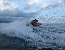 Jetski on the sea. Speed and adrenaline. Freedom without borders stock image