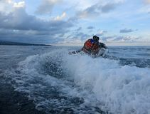 Jetski on the sea. Speed and adrenaline. Freedom without borders royalty free stock photo