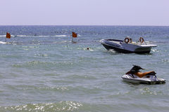 Jetski and a speedboat. For parasailing and holiday fun Royalty Free Stock Image