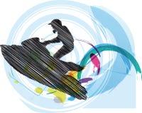 jetskien skissar vektor illustrationer