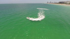 Jetskis in Miami aerial gopro video Royalty Free Stock Photo