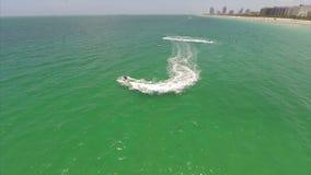 Jetskis in Miami aerial gopro video Royalty Free Stock Photo