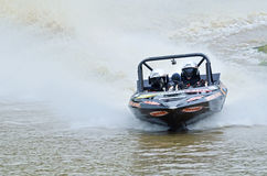 Jetsprint jet boat racing speedboat racing high speed to finish Stock Photography