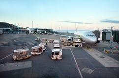 Jetstar在威灵顿国际机场的空中航线飞机 库存照片