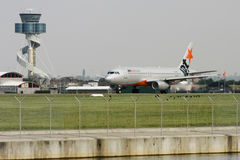 Jetstar Airbus A320 ready for takeoff. Jetstar Airbus A330 airliner on the runway - side view Stock Photo