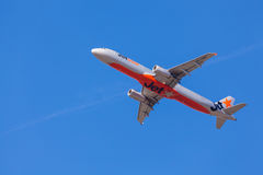 Jetstar aircraft approaching to landing at Melbourne Airport Stock Photos