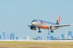 Jetstar airplane landing at Melbourne Airport Stock Photography