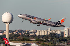 Jetstar Airways Airbus A320 Aircraft Taking off from Sydney Airport. Royalty Free Stock Image