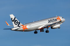 Jetstar Airways Airbus A320 airliner taking off from Sydney Airport. Stock Image