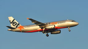 Jetstar Airways Airbus A320 landing at Changi Airport Royalty Free Stock Image