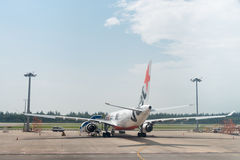 Jetstar airways plane in the airport Stock Photos