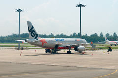 Jetstar airways plane in the airport Royalty Free Stock Images