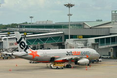 Jetstar Asia Airbus 320 getting ready for departure Royalty Free Stock Photo