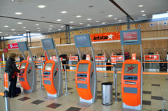 Jetstar check in counter & kiosk Royalty Free Stock Images