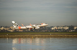 Jetstar departs Kingsford-Smith airport. Sydney Stock Images