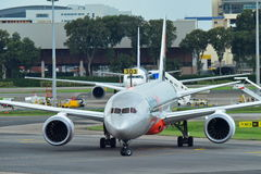 Jetstar International Boeing 787 Dreamliner taxiing at Changi Airport Stock Image