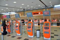 Jetstar signent le compteur et le kiosque Images libres de droits