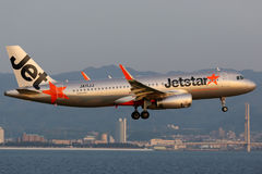 Jetstarluchtbus A320 Osaka Kansai Airport royalty-vrije stock foto's