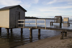 Jetties on the Maroochy River, Sunshine Coast, Queensland. Australia, showing the different styles and habitability Royalty Free Stock Photos