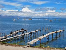 Jetties at Titicaca Lake. Boat Jetties in 4000m altititude close to the sky Royalty Free Stock Images