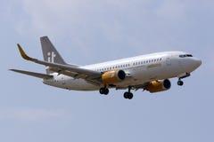 Jettime 737 landning Arkivfoto