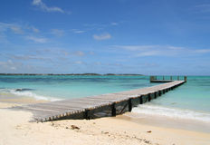 A jetty along the beach of Mauritius Stock Photos