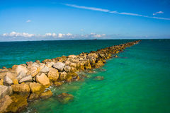 Jetty in the Atlantic Ocean in Miami Beach, Florida. Stock Photo