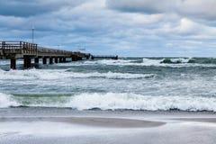 Jetty on the Baltic Sea coast Stock Image