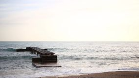 Jetty on the beach in Budva. Near the old town stock video footage