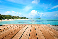 Jetty, beach and jungle Royalty Free Stock Image