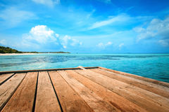 Jetty, beach and jungle Royalty Free Stock Photography