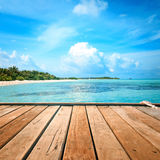 Jetty, beach and jungle Royalty Free Stock Photo