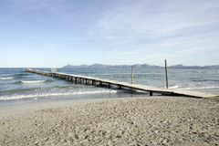 Jetty on beach of Mallorca Stock Photography