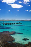Jetty in beautiful bay. Jetty in Vivonne Bay, Kangaroo Island of Australia Royalty Free Stock Photo