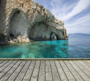 Jetty with beautiful caves Royalty Free Stock Images