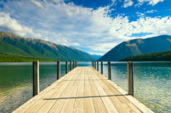 Jetty of a beautiful lake Royalty Free Stock Images