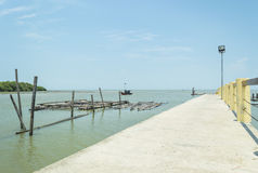 Jetty with blue skies Royalty Free Stock Photos