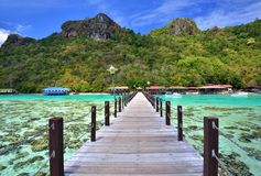 Jetty at Bohey Dulang Island near Sipadan island. Royalty Free Stock Photos