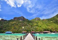 Jetty at Bohey Dulang Island near Sipadan island. Royalty Free Stock Images