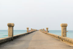 Jetty Bridge. Sea and sky Stock Images