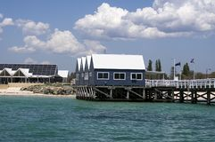 Jetty buildings viewed from Geographe Bay, Busselton, Western Australia. Australia stock images