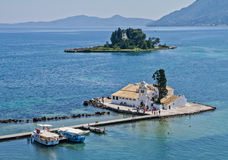 Jetty, Church and Mouse Island, Corfu. Kanoni, the church of Panagia Vlacherna and Mouse Island, Corfu Royalty Free Stock Images