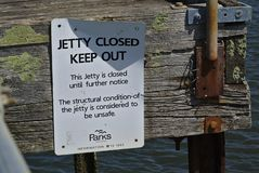 Jetty closed until further notice and keep out sign stock photo