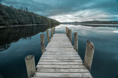 Jetty on Coniston Water in the Lake District at dawn Royalty Free Stock Image