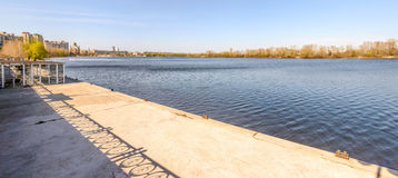 Jetty on the Dnieper River Royalty Free Stock Photo