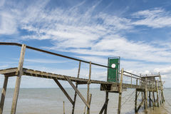 Jetty with door for fishing  Gironde Medoc Stock Images